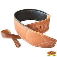 """Leather Guitar Bass Strap 3.25"""" Padded By Great American U-L125"""