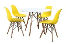 Conjunto de Mesa Wad2 100 + 4 sillas Tower amarillas