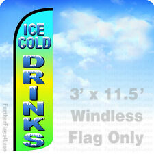 ICE COLD DRINKS - WINDLESS Swooper Flag 3x11.5 Feather Banner Sign - gq