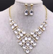 Luxurious Crystal Diamond Rhinestone Necklace Pendant Earrings Wedding Jewelry