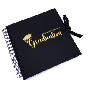 Graduation Themed Brown Scrapbook Photo album With Gold Script