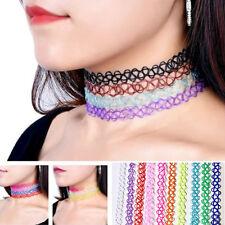 12stk Tattoo-Kette Sets Vintage Halskette Boho Stretch Halsband Elastisc Schmuck