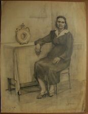 Russian Ukrainian Soviet Painting pencil realism female portrait woman 1950s