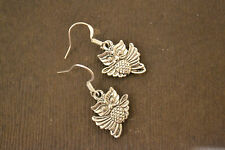 Silver Drop Earrings Cute Retro Owl