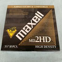 """Maxell MD 2HD 5-1/4"""" Floppy Disk Box New Old Stock 5.25"""" Floppies Max Awards 10"""