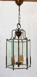 Lustre lanterne hexagonale verre gravé biseauté laiton