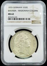 1855 Germany Bavaria - 2 Guldens - Madonna Column - NGC MS-62
