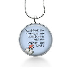 Seuss quote necklace- teacher gift, quote pendant - questions are complicated