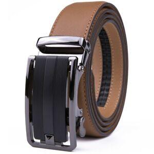 Mens Belts Leather Dress Belts Ratchet Belt Automatic Buckle Size Customized
