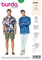 BURDA STYLE SEWING PATTERN 6349 MEN'S SHIRT WITH COLLAR