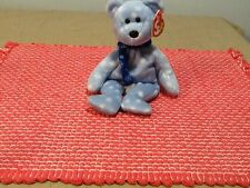 Ty Beanie Holiday Teddy Blue With Snow Flakes