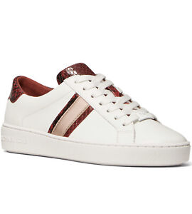 NIB Size 8 Michael Kors KeatonLeather Stripe Sneakers White Burgundy Rose Gold