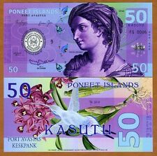 Poneet Islands (Mujand) 50 Kasutu 2015 UNC POLYMER Limited Issue Fantasy Note