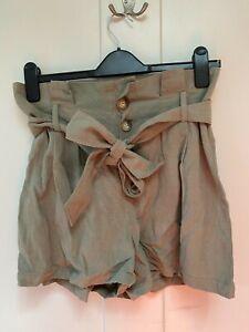 Topshop Khaki Paperbag Shorts, Size 10