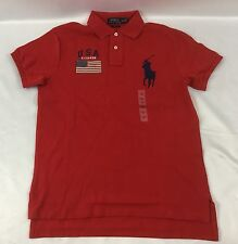 Ralph Lauren Men's Polo Shirt Custom Fit USA US Flag Red Size M