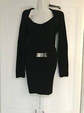 JANE NORMAN UK 12 BLACK BODY CON Cable Knit JUMPER DRESS MINI SILVER BUCKLE EXC