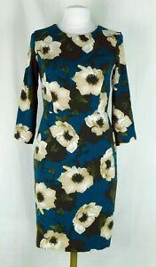 EUC Banana Republic Green Floral Sheath 3/4 Sleeve Dress Size 4 Very Nice!