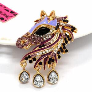 Rhinestone Purple Enamel Crystal Horse Betsey Johnson Women's Party Brooch Pin