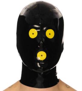 100% Latex gummi rubber face hood popular cosplay party club headgear S-XXL