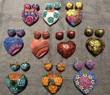 Oaxaca wood carving folk art earrings & heart pendant alebrijes