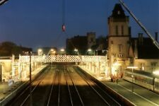 PHOTO  LINCOLN RAILWAY STATION IN THE EARLY HOURS OF THE MORNING THE FOOTBRIDGE