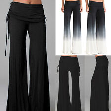 Frauen Damen Hose Solid Palazzo Wide Leg Hohe Taille Lange Lose Casual Hosen