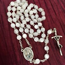"""Fatima Holy Spirit ROSARY mother of pearl made in Poland of Italian parts 17.5"""""""