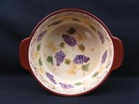 Vineyard by Temp-Tations Ovenware 2 Qt. Bowl Purple Grapes Leaves Brown Trim