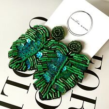 Beaded Banana Leaf Sparkle Dangle Zara STYLE Plant Earrings