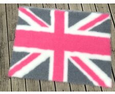 Pink & Grey Union Jack Vet Bedding, Non Slip, Thick Pile
