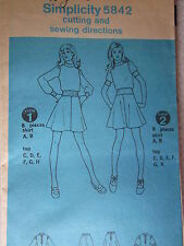 5842 VINTAGE Simplicity Sewing Pattern Misses Flared Skirt Top w/Ribbing Sz 8