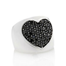 "Yours by Loren .84ct Black Sapphire Sterling Silver ""Heart"" Ring Size 10"
