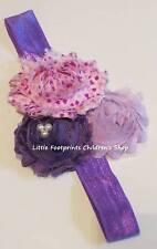 Lavender Purple Triple Shabby Flower Headband Hearts Valentine's Day