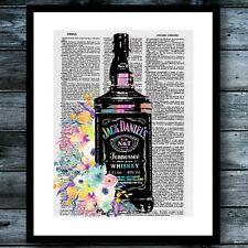 Jack Daniels Vintage Dictionary Poster Modern Art Print Whiskey Watercolor Decor