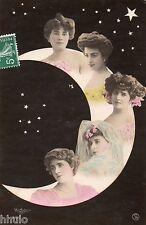 BE715 Carte Photo vintage card RPPC Femme woman lune moon multi portrait montage