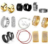 Black Silver Hoops Earrings Non Allergenic Huggie Stud 316L Stainless Steel