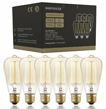 Edison Bulb 25W - 6 Pack - Dimmable Squirrel Cage Filament Style - Incandescent