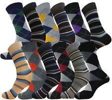 12 PAIR MEN WOMEN DRESS SOCKS STRIPES & ARGYLE FASHION COTTON SOCKS SIZE 9-11