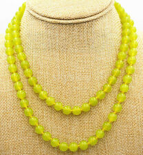 Natural 10mm Green Peridot Round Gemstone Beads Necklace 36 Inches AA