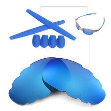 Walleva Ice Blue Vented Polarized lenses + Ear socks T-shocks for Oakley Juliet