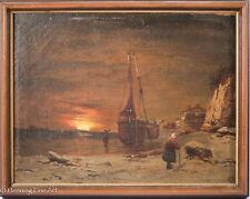 RARE Eberhard Fiebig Oil Painting on Canvas of Coastal Town & Sunset! NICE!