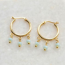 Aqua Glass Beaded Hoop Earrings Small/Medium Gold Plated Posts Bohemian Boho UK