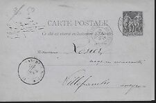 ENTIER  POSTAL  CARTE POSTALE  TYPE SAGE 1884SOCIETE DES HOUILLERES