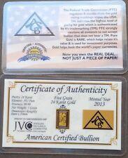 ACB Gold 24k Pure Au Bullion 5Grain Bar in Certificate of Authenticity Invest $