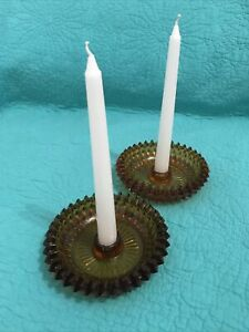 Vintage Pair Amber Glass Diamond Cut Taper Candle Holders