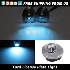 2pcs License Plate Cover Lens w/ Ice Blue LED Light for 1980-2005 F350 F450 F550