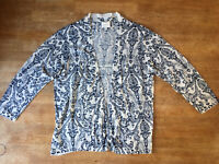 East Linen Blend White Blue Paisley / Floral Open Cardigan Size M UK 12 / 14