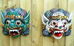 Amazing Carved Wooden Wall Mask 20 cm Rakshasa Hinduism Variants of Colours