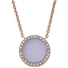 Michael Kors GoldTone Pave Disc Halo Pendant Necklace Violet dust bag MKJ5415710