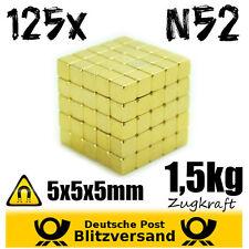 125x al Neodimio Magnetico cubo 5x5x5mm n52 ORO RIVESTITO piccoli magneti Geocaching
